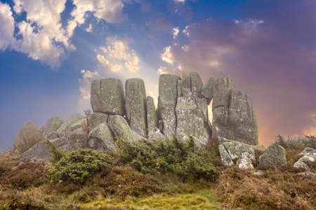 scenic rocks at the summit of tne mountain petit balloon in the Alscae region, France