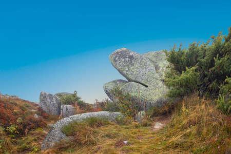 scenic rocks like a sleeping lion or sleeping giant at the summit of tne mountain petit balloon in the Alscae region, France