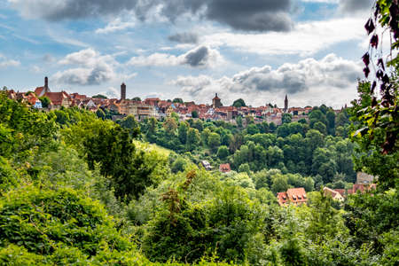 scenic view to rothenburg ob der tauber in germany