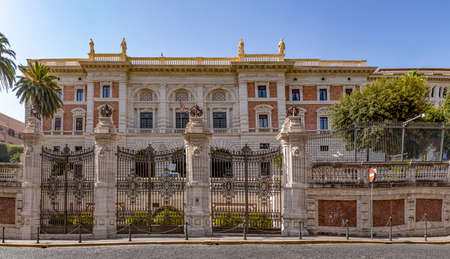 view to the american embassy in Rome, Italy located in an old historic palace in quarter Lodovisi in Rome. Редакционное
