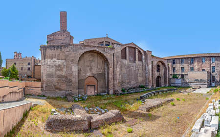 Rome, Italy - August 1, 2021: view to the ruins of baths of Diocletian, a historic public bath from roman times situated near the train station Termini in Rome.