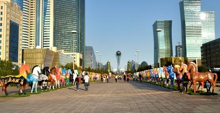 astana: Water-Green Boulevard in Astana Stock Photo