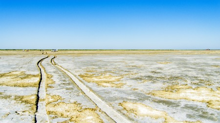 The Aral Sea is a formerly undrained salt lake in Central Asia, located on the border of Kazakhstan and Uzbekistan. Since the 1960s, the level of the sea began to decline rapidly because of the diversion of water for irrigation purposes from the Amu Darya Imagens