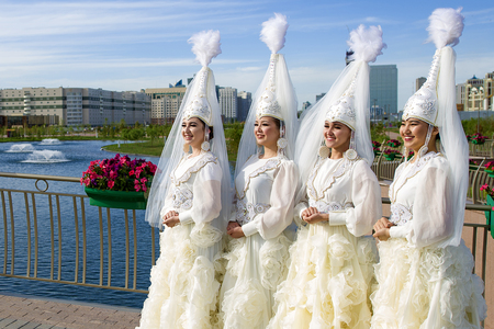 Kazakhstan girls in national clothes in Astana city.