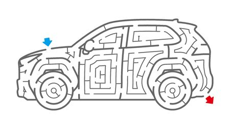 Car Maze. It is suitable for brain training.  イラスト・ベクター素材