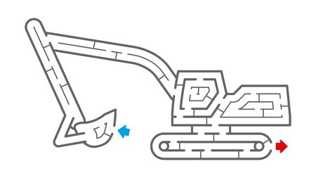 Excavator Maze. It is suitable for brain training. Иллюстрация