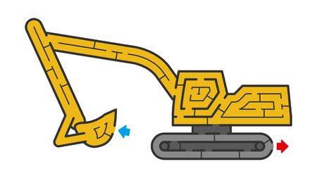 Excavator Maze. It is suitable for brain training.  イラスト・ベクター素材