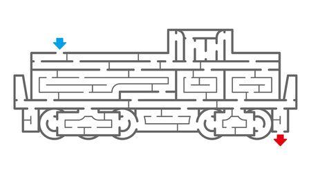 Lokomotive Labyrinth. Es ist für das Gehirntraining geeignet.