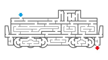 Locomotive Maze. It is suitable for brain training. Illustration