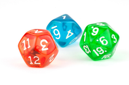 Red, Green, and Blue Translucent Dice on White