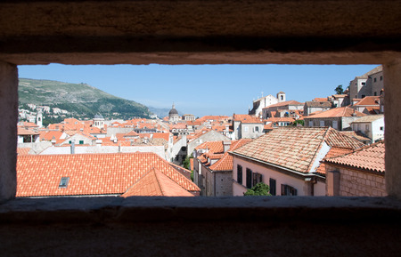 View of Dubrovnik from city walls, Croatia Stock Photo