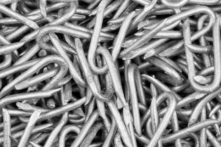 Close-up of steel wire staples