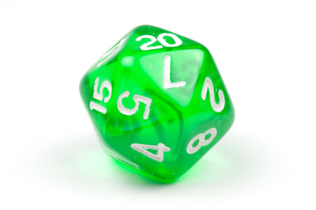 A single green, translucent 20-sided die Stock Photo
