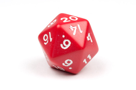 dungeons: A single red 20-sided die on white Stock Photo