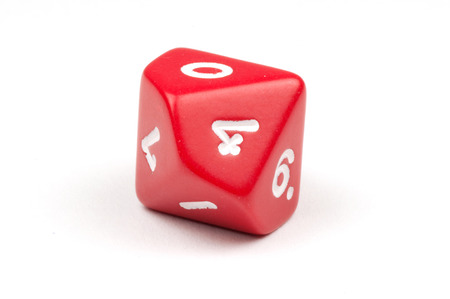 A single red ten-sided die Stock Photo