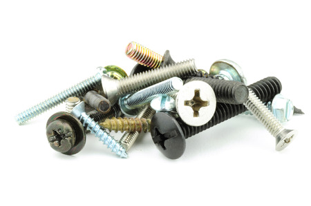 A small pile of assorted screws Stock Photo