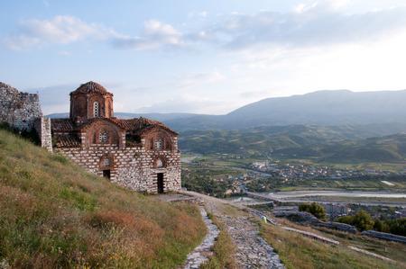 St  Mary of Blachernae Church, Berat, Albania, with countryside