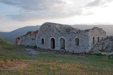 Ruins of castle walls, Berat, Albania Stock Photo