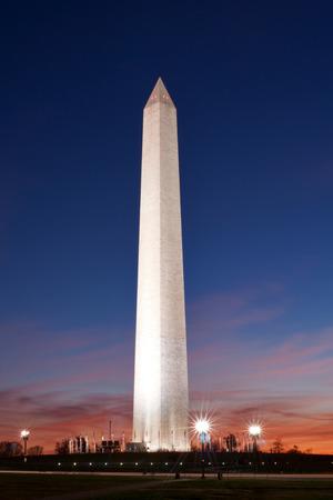 Washington Monument at late dusk