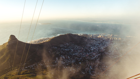 Quick glimpse through the clouds on mountain table, Cape Town, South Africa