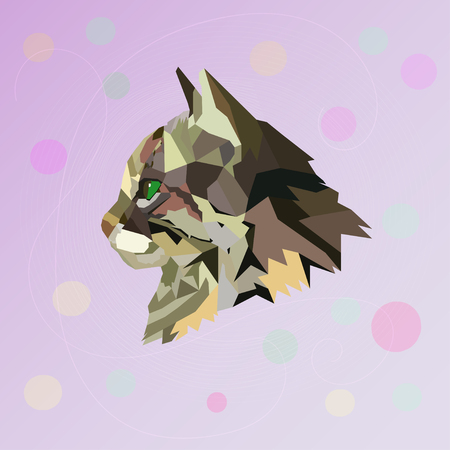 green face: Abstract polygonal cat. Vector illustration. Polygonal image.