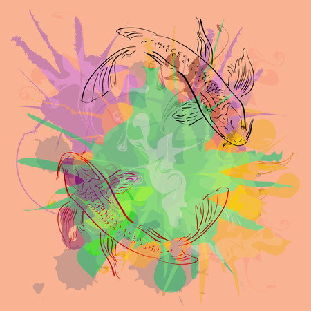 kohaku: Two fishes symbolizing love Illustration