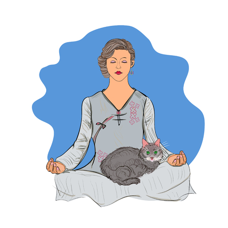 lotus position: Woman in lotus position and cat.  Vector illustration.