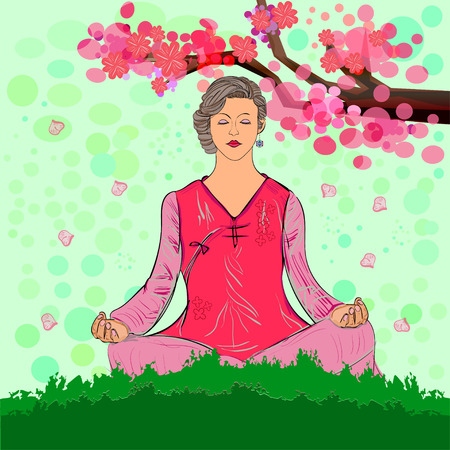 relaxed: Front view of a relaxed woman meditating. Vector illustration. Illustration