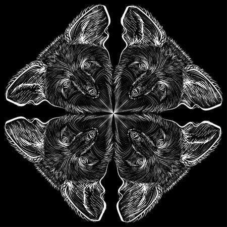Vektor Bild. Vier Schläger auf einem schwarzen Hintergrund Vektorgrafik