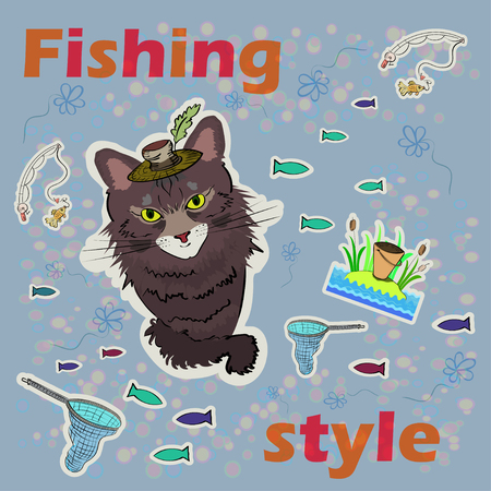 cunning: Cunning cat fishing. Flowers and fish on the background