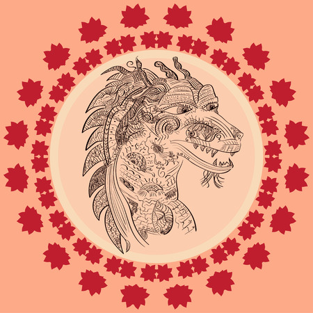 zodiac anger: Traditional Asian Dragon.  illustration ideal for a mascot and tattoo or T-shirt graphic.