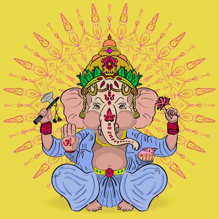 abundance: The mythology of India. Great Lord Ganesha. God of abundance with an elephant head Illustration