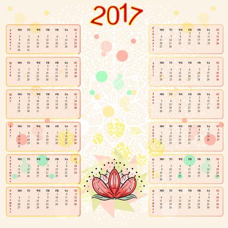 sacred symbol: Calendar 2017 year. The sacred symbol of Asia