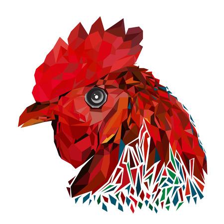 Geometric design prints a rooster Illustration