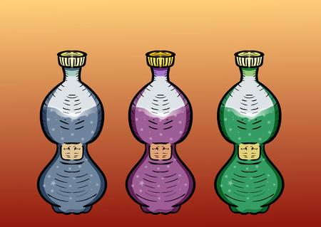 Three plastic bottles into a beverage. Blue, purple green color Illustration