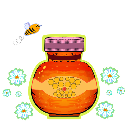 golden daisy: The organic product. Sweet amber honey and bee image Illustration