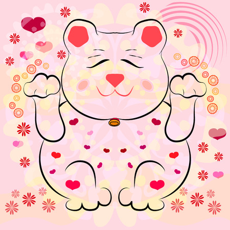 neko: Maneki Neko. East symbol of happiness, love and successful business