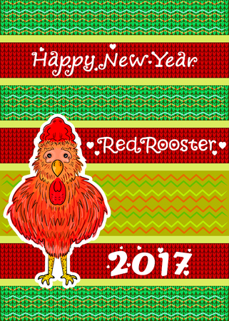 event planner: Chinese symbol of the year. Red Rooster. Happiness and good luck