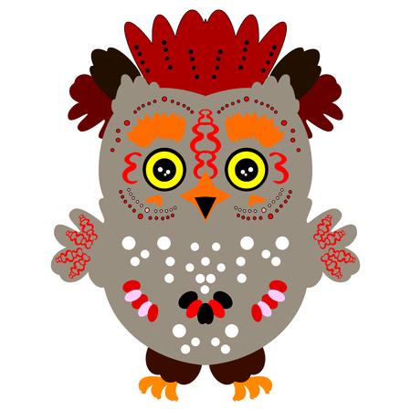 image of a colorful owl. Beautiful bird Illustration