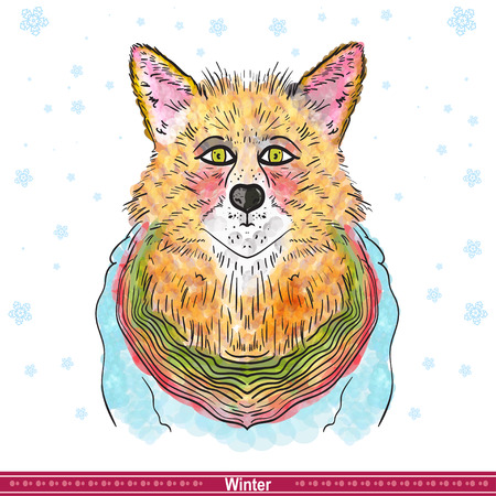 artful: Artful Orange fox. Vector illyustration. Winter illustration