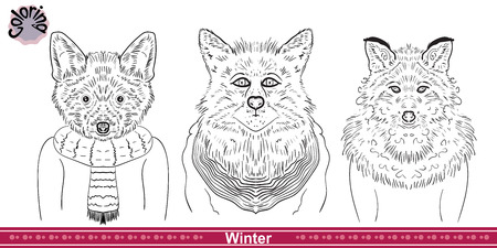 desing: Coloring foxes . Anti-stress coloring Cartoon desing. Black-and-white picture
