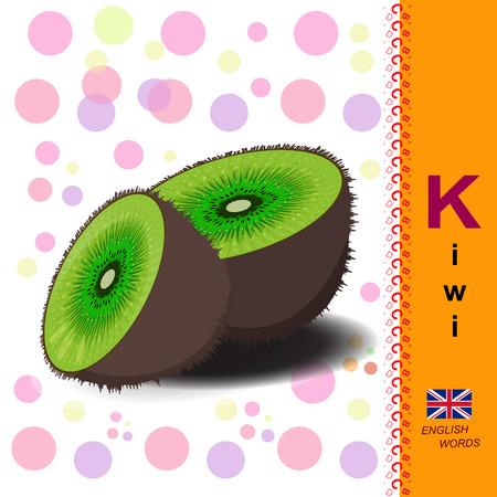 English alphabet. Illustration of a ripe kiwi. Food Vector Image