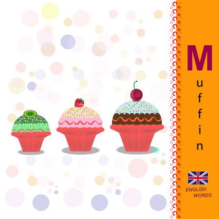 muffins: English alphabet. Illustration of a fruit muffins. Food Vector Image