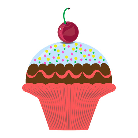 Vector illustration. Sweet muffin for dessert. Childrens Party Illustration