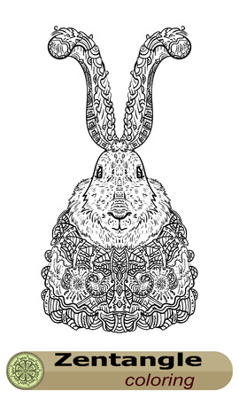 personification: Long-eared bunny Zentangle. The personification of the holiday