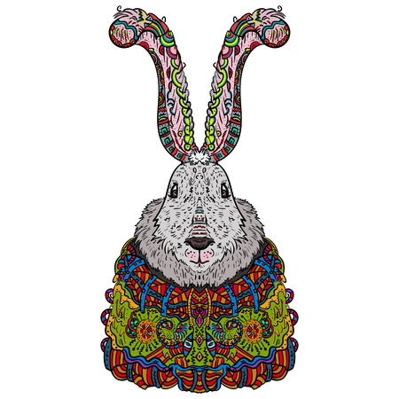 personification: Long-eared bunny Zentangle. Colorful, fun, the personification of the holiday