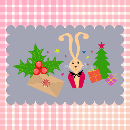 Background tartan. Christmas card with bunnies, Christmas tree, gifts Illustration