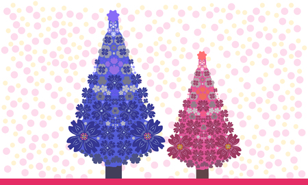 Christmas tree is richly decorated. Vector illustration