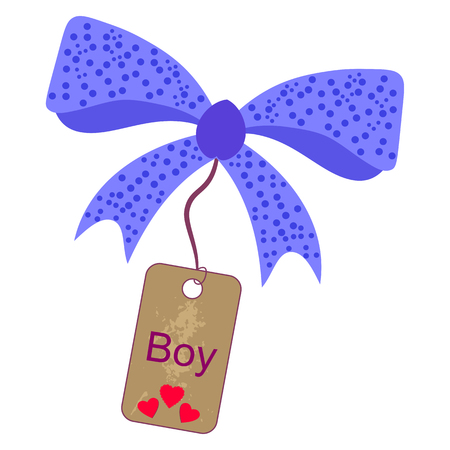 The sticker boy was born. Vector image labels with hearts Illustration