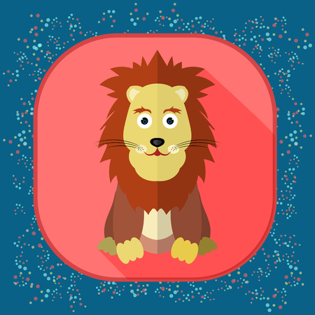 Icon with the image of a lion. Zodiac Sign Illustration